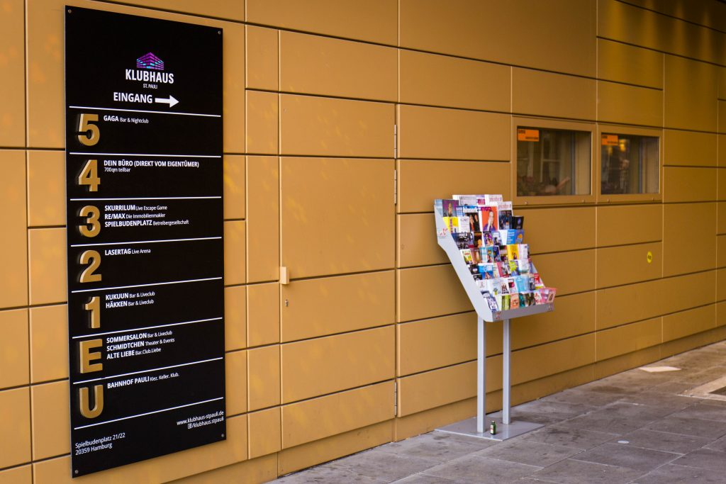 Klubhaus St. Pauli Schild am Eingang